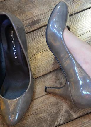 Восхитительные туфли серый мрамор лаковые евро каблук