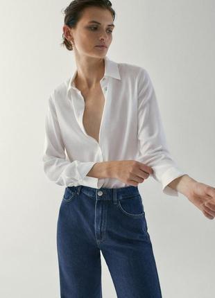 Белая рубашка massimo dutti, базовая рубашка брендовая, блуза рубашка оригинал