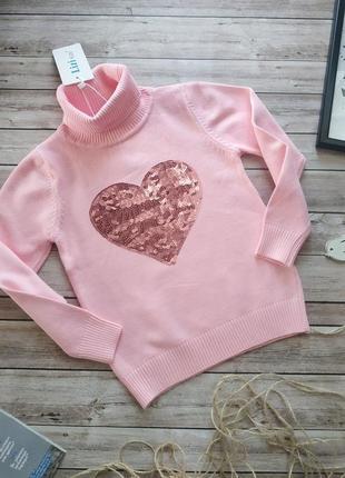Розовый свитерок с сердцем