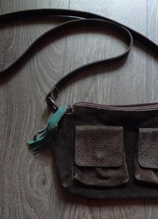 Замшевая маленькая сумка мехх