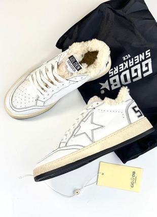 Кеды кроссовки женские кожаные теплые утеплённые зимние мех белые брендовые