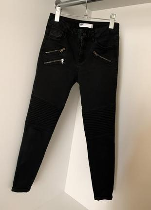Темно-серые женские графитовые джинсы джеггинсы скины по фигуре со змейками zara