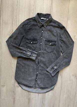 Рубашка удлиненная джинсовая