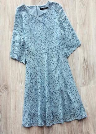 Шикарное кружевное платье нежно-голубого цвета zara