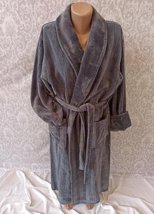Мужские теплые длинные халаты без капюшона, халат теплый мужской длинный с поясом турция