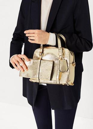 Zara шикарная золотая сумочка с кошельком на длинном ремешке,оригинал