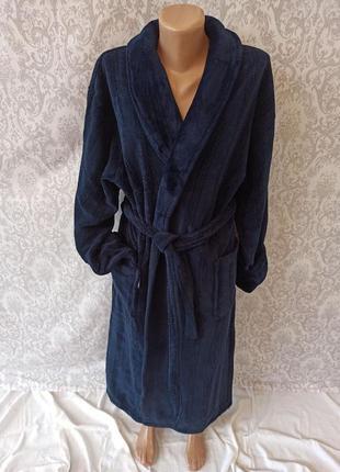 Теплый длинный мужской махровый халат, турецкий теплый мужской халат с поясом