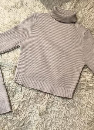 Водолазка, укороченый свитер кроп-топ с горлом, гольф кофта в рубчик