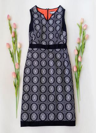 Платье миди с вышитым кружевом и ярким подкладом  от next размер m
