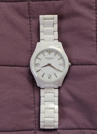 Мужские белые  керамические часы emporio armani ceramica