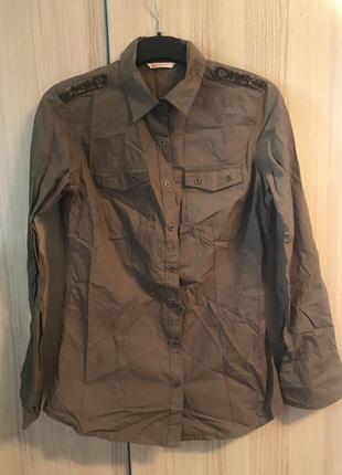 Рубашка хаки зеленая новая camaieu как zara stradivarius