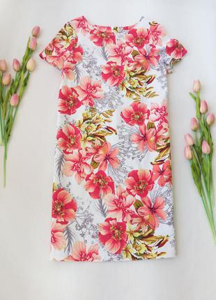 Нарядное платье с цветами прямого кроя от marks spencer размер xl