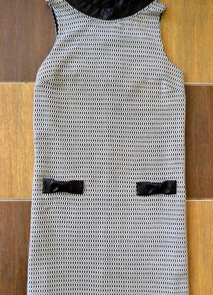 Черно-белое платье с кожзам вставками miss selfridge