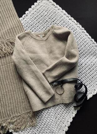 Шерстяной тёплый женский свитер. бежевая кофта для девушек