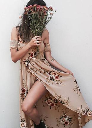 Платье сарафан макси длинное в пол цветочный принт