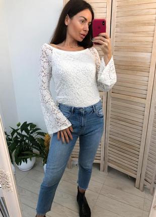 Белая кружевная блуза amisu