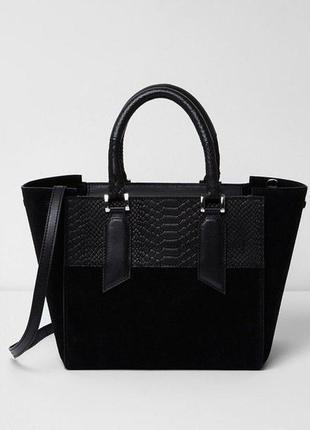 Натуральная сумка river island, оригинал. черная замшевая сумка, новая