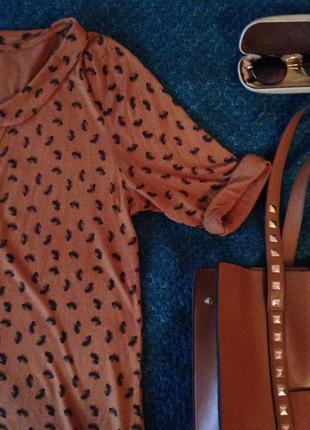 Блуза с оригинальным воротником и рукавом 3/4 (италия), вискоза, подходит на размер m-l