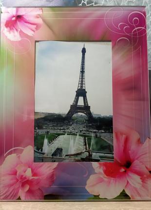 Красивая рамка для фото, фоторамка с цветами 9*13 стекло