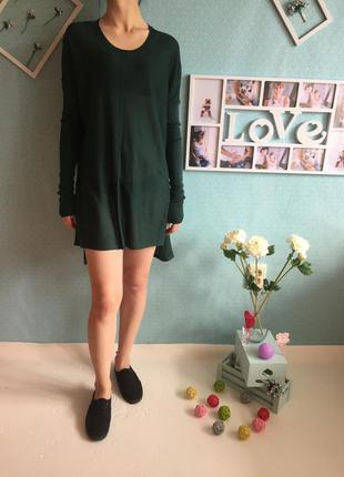 Изысканная вязаная удлиненная кофта платье с длинным рукавом оверсайз