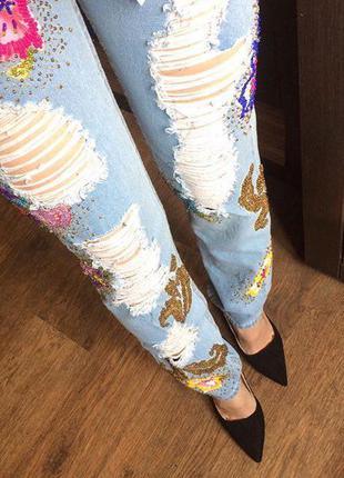 Новые джинсы /брендовые/голубые/синие/рваные/ mad almadal милан р-р 24/25