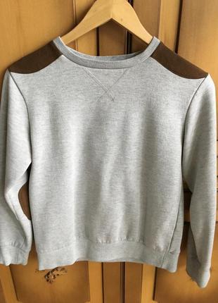 Серый базовый свитшот, серый джемпер, кофта с коричневыми вставками