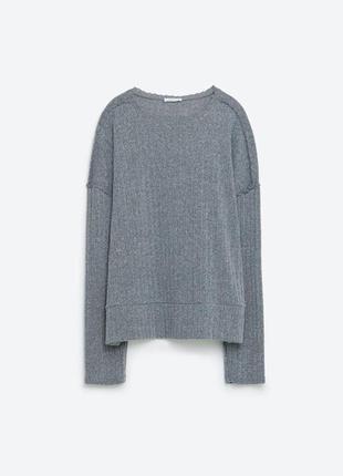 Тонкий серый свитер zara