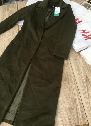 Стильное актуальное длинное пальто h&m классическое хаки классика