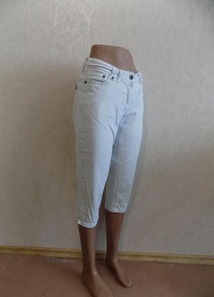 Бриджи капри джинсовые белые со змейками фирменные yessica размер 46