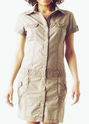 Denim платье - рубашка в актуальном стиле сафари нейтрального бежевого оттенка, размер 48
