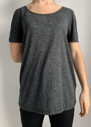 Футболка жіноча, чорна, сіра футболка, темно серая футболка оверсайз стильная базовая.