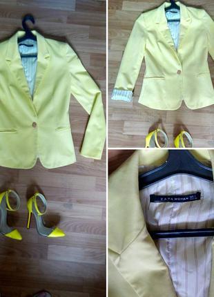 Модный желтый пиджак zara