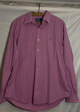 Полосатая базовая розовая рубашка polo ralph lauren оверсайз унисекс