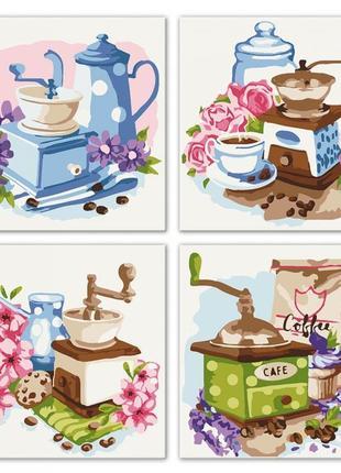 Набор для росписи по номерам полиптих цветочный кофе knp018