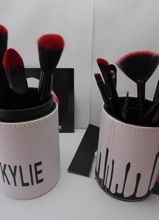 Набор кистей для макияжа kylie jenner чёрный, 11 штук / набір кісточок для макіяжу
