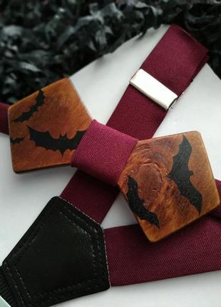Галстук бабочка деревянная на хэллоуин