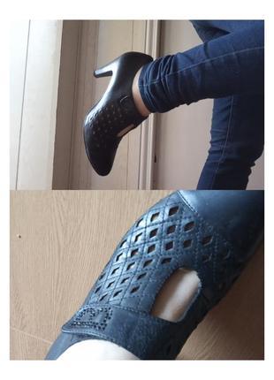 Polann брендовые туфли на маленьком каблучке кожа с буквой в