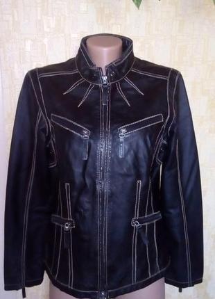 Vip!стильная 100% кожаная куртка украшена строчкой/куртка/ кардиган /плащ/пальто/тренч