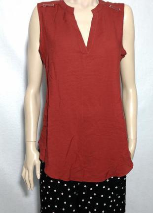 Темно оранжевая блуза без рукавов насыщенный цвет