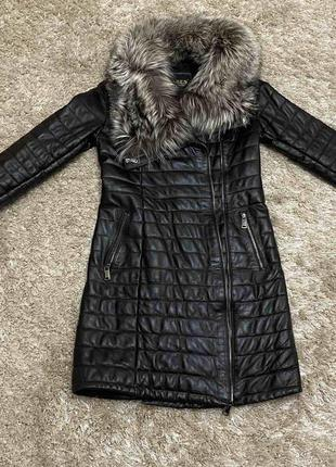 Пальто натуральная кожа и мех