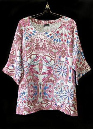 100% лён! свободная блуза реглан с ярким узором р.18-20