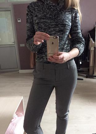 Классические брюки принт гусиная лапка со строчкой oodji новые