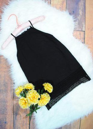 Черный топ с кружевной оборкой new look размер uk10 (s/m) майка блуза