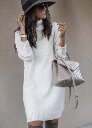 Актуальное платье-свитер цвета слоновой кости topshop зимнее платье с высокой горловиной