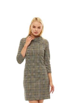 Деловое серое трикотажное платье в клетку сукня tom tailor р. 50-52 укр.