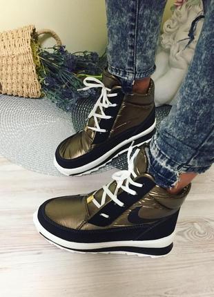 Супер крутые новые зимние теплые болоньевые ботиночки на меху, 39р. 25см.🌹❤️❣️