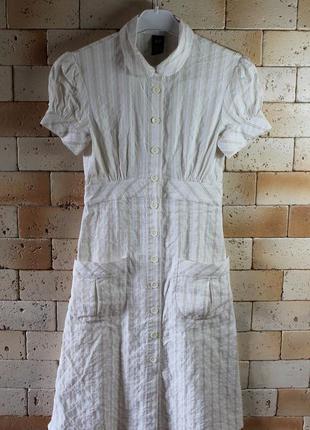 Gap платье - рубашка из белого коттона в бежевую полоску