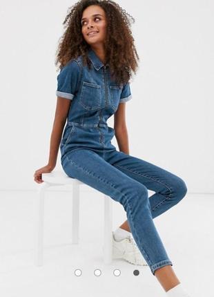 New look джинсовый комбинезон сплошной синий голубой на молнии с карманами новый