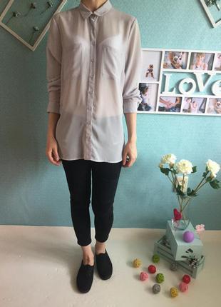 Стильная удлиненная шифоновая рубашка блузка с разрезами по бокам и длинным рукавом