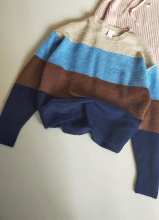 Полосатый оверсайз свитер h&m